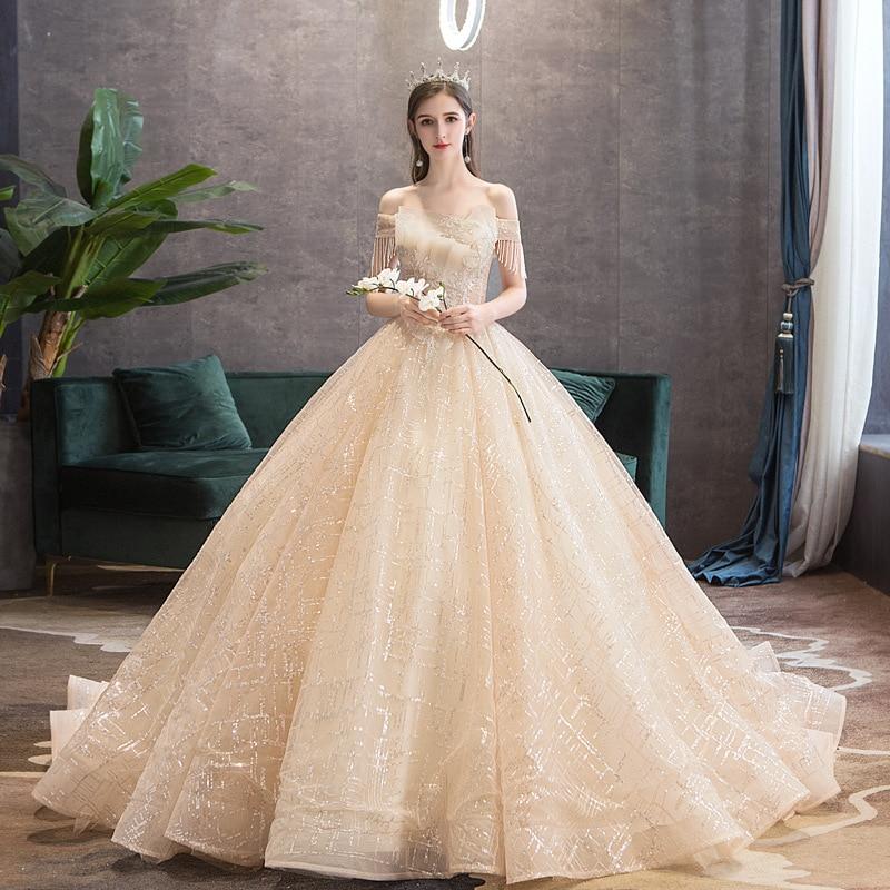 Wedding Dress 2020 Luxury Boat Neck Sweep Train Ball Gown Off The Shoulder Princess Bling Bling Lace Vestido De Noiva