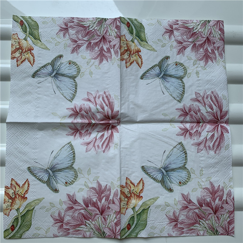 Image 3 - 25cm decoupage paper napkin wedding tissue elegant flower butterfly fruit Mango pear wine handkerchief birthday party serviettes-in Disposable Party Tableware from Home & Garden