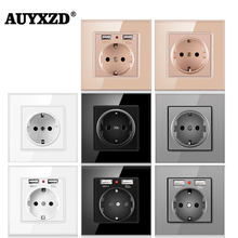 AUYXZD Wall Power Socket German-Style Plug Has Been Grounded Crystal Tempered Glass Panel 16A EU Standard Power Socket 110-250V