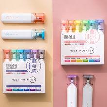 6 stücke Schlüssel Punkte Highlighter Pen-Set Super Weiche Pinsel Spitze Fluoreszierende Mild Farbe Marker Liner Zeichnung Malen Kunst Schule DIY A6764