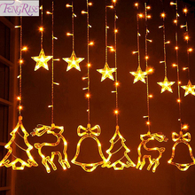 FENGRISE Christmas Tree Elk Star Curtain Lights Decorations For Home Ornaments 2019 Xmas Gifts New Year 2020