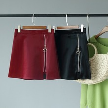 Fashion mini skirt zipper leather 2019 new slim autumn high waist A word female