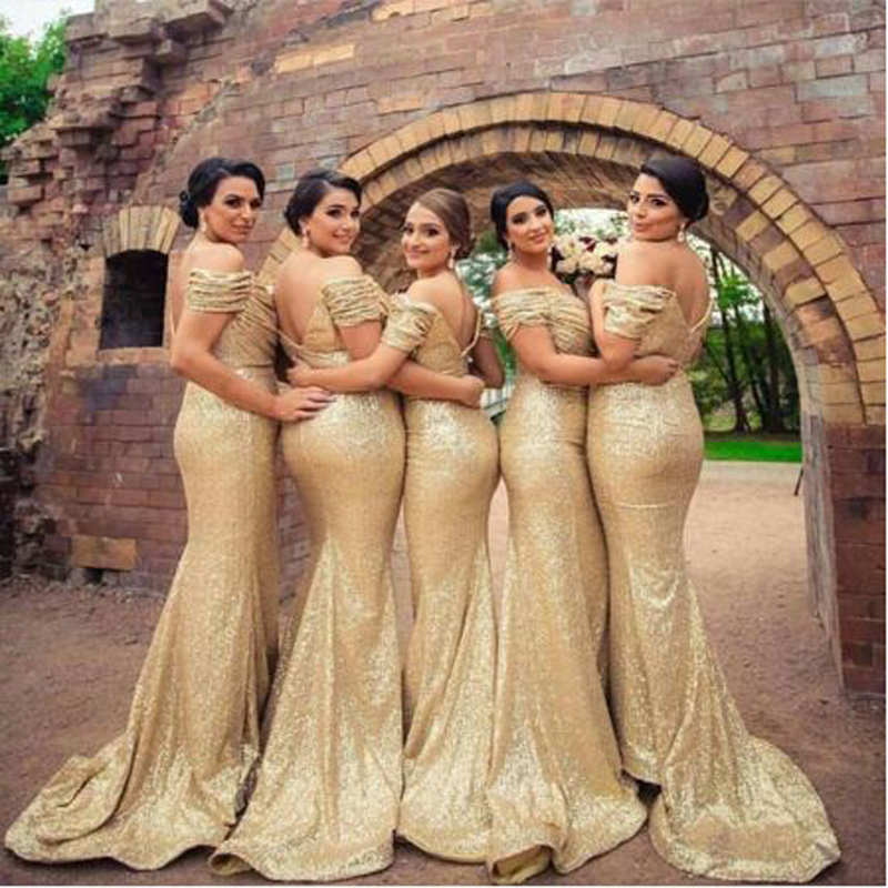 Sequined Off-shoulder   Bridesmaid     Dresses   Simple Short Sleeve Boat Neck Floor Length Party Gown Robe Demoiselle D'honneur