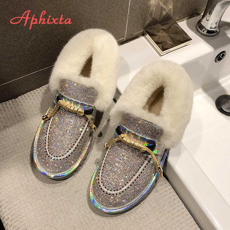 Aphixta Luxe Bling Crystal Warme Snowboots Vrouwen Flats Hak Kleurrijke Steentjes Diamanten Winter Pluche Vacht Schoenen Vrouw