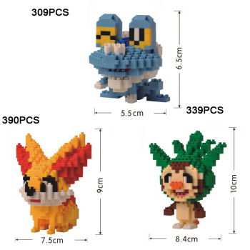 Anime game nanobricks poke monsters xy&z gosanke building bricks Chespin Fennekin Froakie Nintendoes micro diamond block toys image