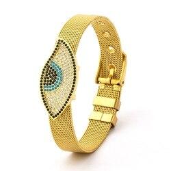 Fine Stainless Steel Mesh Bracelets For Women Men Couple Lovers Gold Color Evil Eyes Charm Watch Belt Bangle Jewelry Gift