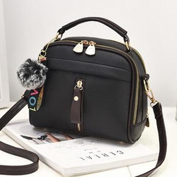 Fur Ball Shell Shape Shoulder Bag