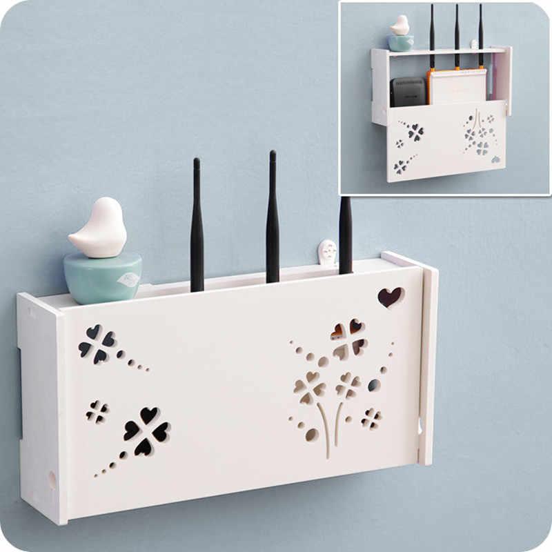 لتقوم بها بنفسك التلفزيون فك التشفير رفوف الحائط الزخرفية منحوتة الخشب تخزين الرف المنظم HDF STB التحكم عن بعد حامل ديكور المنزل