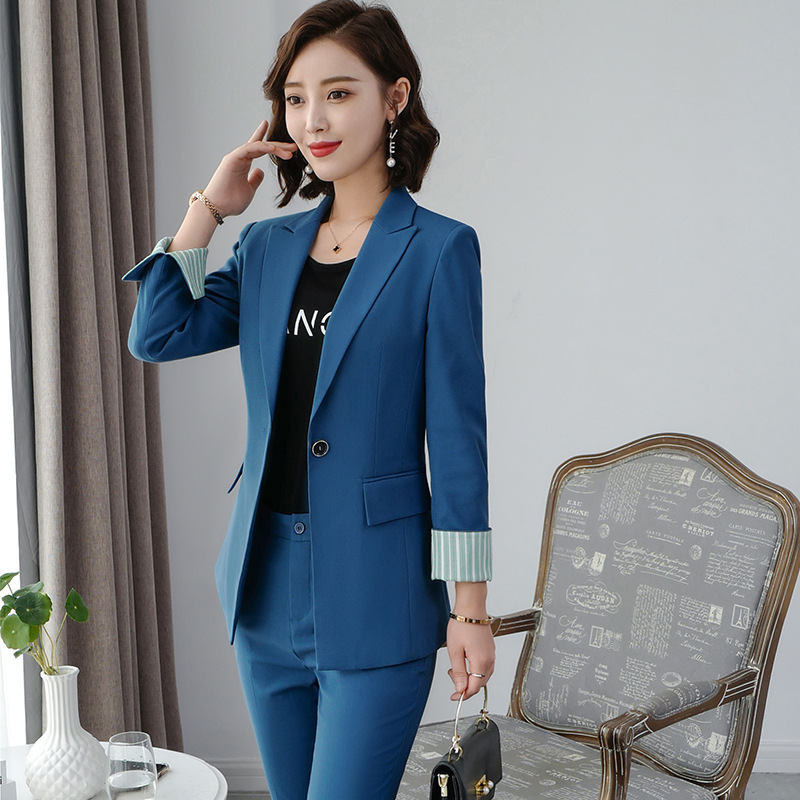 Women's clothes autumn and winter new fashion solid color single buckle lapel suit suit urban capable female overalls two-piece 39
