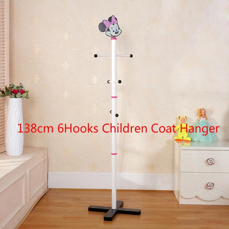 Children Clothes Hanger Coat Racks With 138cm 6 Hooks Floor Hanger Standing Clothing Rack For Hat/Handbags Wooden Clothes Shlef