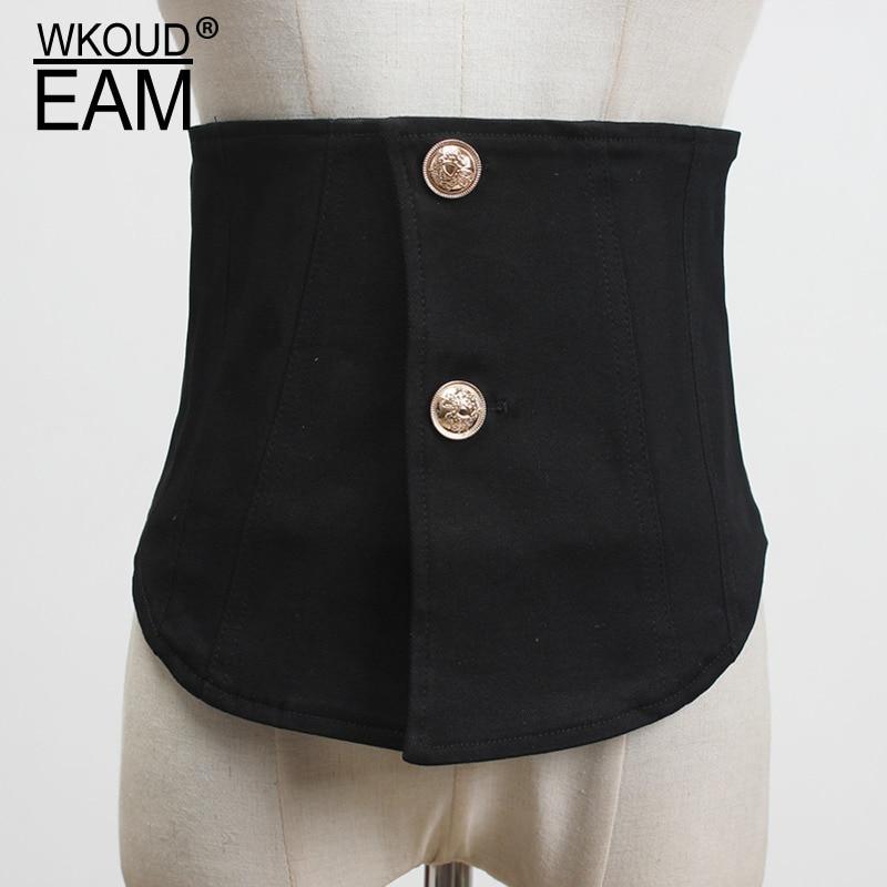 2020 New Vintage Denim Decoration Wide Corset Belt For Women Irregualr Double Buckle Waistband Female High Quality Brand PF222