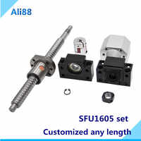 C7 rolled 16mm ballscrew set:SFU1605 ball screw with ball nut+nut housing DSG16H+BK/BF12 end support + coupler RM1605 cnc parts