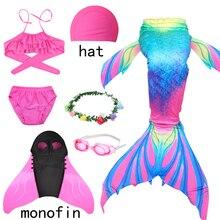 Denizkızı kostümleri çocuk kız Mermaid kuyrukları Fin mayo Bikini mayo çocuk denizkızı kuyrukları takım kıyafet kızlar Flipper