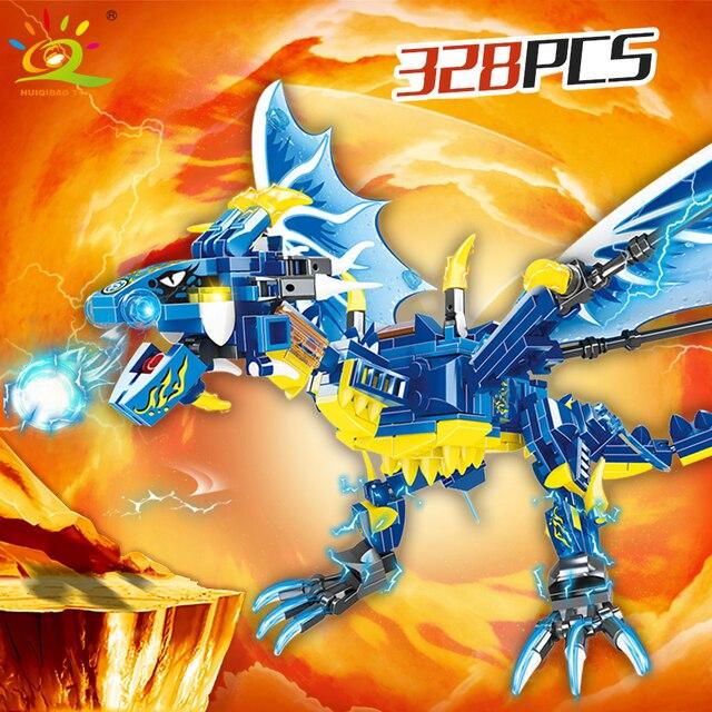 "Конструктор HUIQIBAO ""Синий дракон"", 328 шт."
