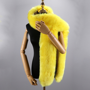 Image 5 - 180cm חורף חם צעיף צווארון צעיף כורכת ליידי פרווה ארוך צעיפי מוצק צבע סימולציה פרוות שועל Pashminas עבור נשים מעיל מעילים