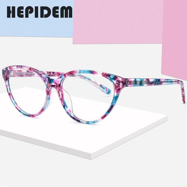 アセテート光学眼鏡フレームの女性のブランドデザイナーキャットアイ処方メガネ新キャットアイ眼鏡眼鏡9111