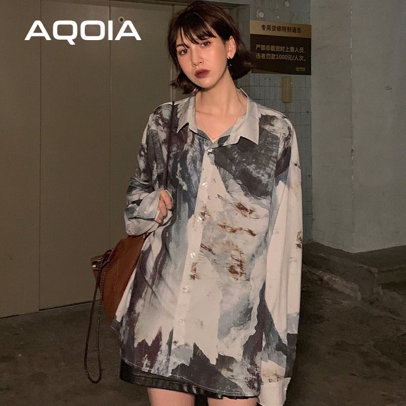 Smart Aqoia Casual Abstract Ink Printing Long Sleeve Women Blouse Shirt Ins Trun Down Collar Loose 2020 Autumn Plus Size Ladies Shirts