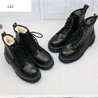 LZJ nouveau 2019 femmes plate-forme bottines printemps botte noir à lacets noir moyen Creepers chaussures mode fête chaussures 35-40