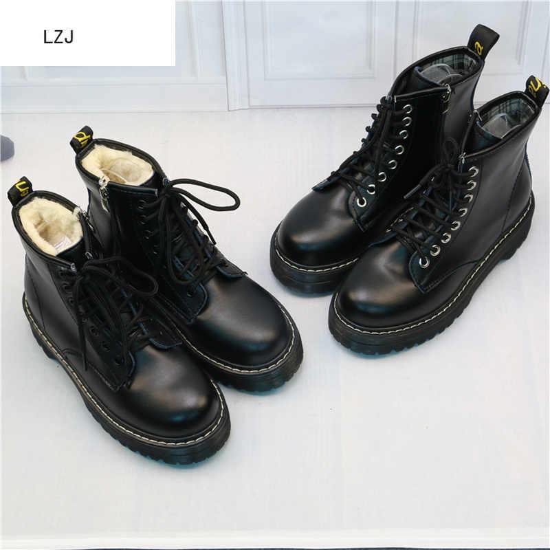 LZJ Mới 2019 Phụ Nữ Phẳng Nền Tảng Mắt Cá Chân Giày Mùa Xuân Boot Đen Phối Ren Đen Vừa Cây Leo Thời Trang Đảng Giày 35-40
