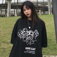 Photo Shoot 2019 Summer South Korea INS Figure Printed Tee Loose Fit Harajuku Wind Slimming Half sleeve Shirt Tops Short Sleeved