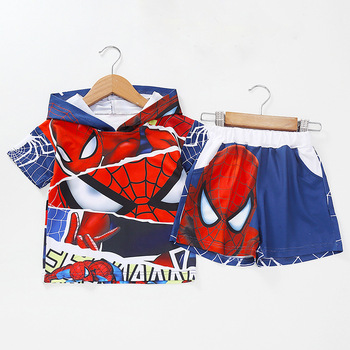 цена на Summer Boys Clothing Sets Cartoon Spiderman Baby boy short Sleeve T-shirt +shorts 2 pcs Suit Children Toddler Casual Clothes Set