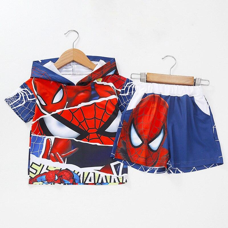 Summer Boys Clothing Sets Cartoon Spiderman Baby boy short Sleeve T-shirt +shorts 2 pcs Suit Children Toddler Casual Clothes Set