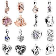 Ajuste original pandora encantos pulseira 925 prata esterlina rainha sapatos família coração charme pingente grânulo diy jóias fazendo berloque
