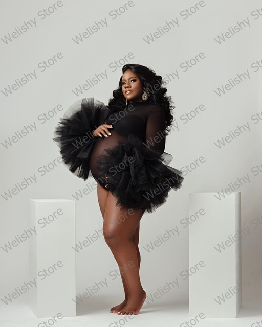 Fashion Black See Thru Maternity Tulle Dress For Women Photography Puffy Ruffled Sleeve Bodysuit South Africa Style Plus Size 3