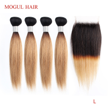 MOGUL HAIR Closure Blonde Bundles Remy Straight Ombre Brazilian 4/6-Bundle with Honey