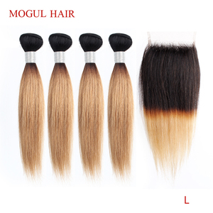 Image 1 - MOGUL HAIR 50g/pc 4/6 Bundle with Closure Honey Blonde Bundles With Closure T 1B 27 Brazilian Straight Ombre Remy Human Hair