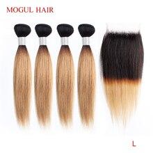 MOGUL saç 50 g/adet 4/6 paket kapatma ile bal sarışın demetleri ile kapatma T 1B 27 brezilyalı düz Ombre Remy insan saçı