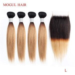 Image 1 - Mechones de cabello MOGUL de 50g/pieza 4/6 mechones con cierre rubio miel con cierre T 1B 27 pelo humano brasileño liso Ombre Remy