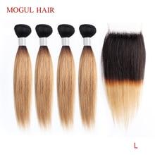Mogul Haar 50 G/stk 4/6 Bundel Met Sluiting Honing Blonde Bundels Met Sluiting T 1B 27 Braziliaanse Straight Ombre Remy menselijk Haar