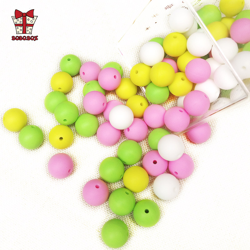 BOBO.BOX 30pcs Round Silicone Beads 15mm Baby Teething Toy Food Grade DIY Pacifier Chain Clips Tools Baby Teether Gift BPA Free