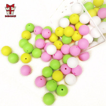 BOBO.BOX 30pcs Round Silicone Beads 15mm Baby Teething Toy Food Grade DIY Pacifier Chain Clips Tools Baby Teether Gift BPA Free personalized name baby teether silicone pacifier clips holder infant teething toys baby shower gift food grade silicone