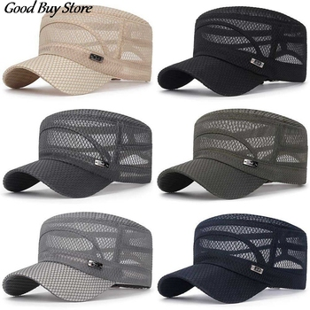 Adjustable Outdoor Sun Hats Mesh Baseball Cap Casual Flat Breathable Hat Men Snapback Male Summer Gorras Streetwear Trucker Cap men women summer quick dry baseball cap solid color hollow out leisure mesh breathable adjustable sunshade outdoor sun hat