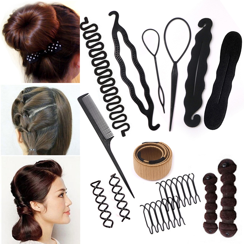 Women Girls DIY Hair Styling Tools Braiding Accessories Magic Donut Hair Bun Maker Twist Hair Clip Disk Pull Hairpins Hairstyle