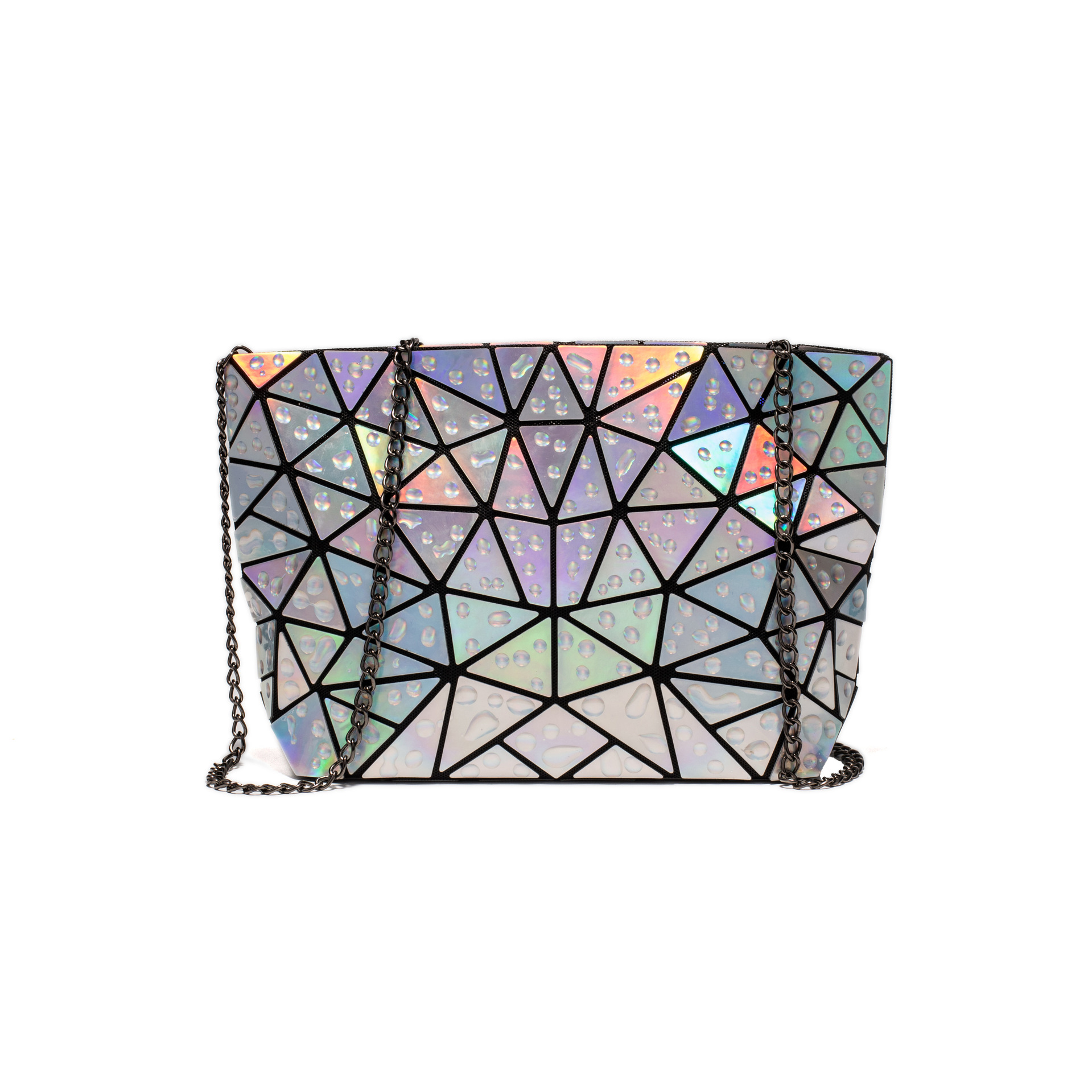 Ladies Geometric Holographic Crossbody Bag Water Drop Accent 7