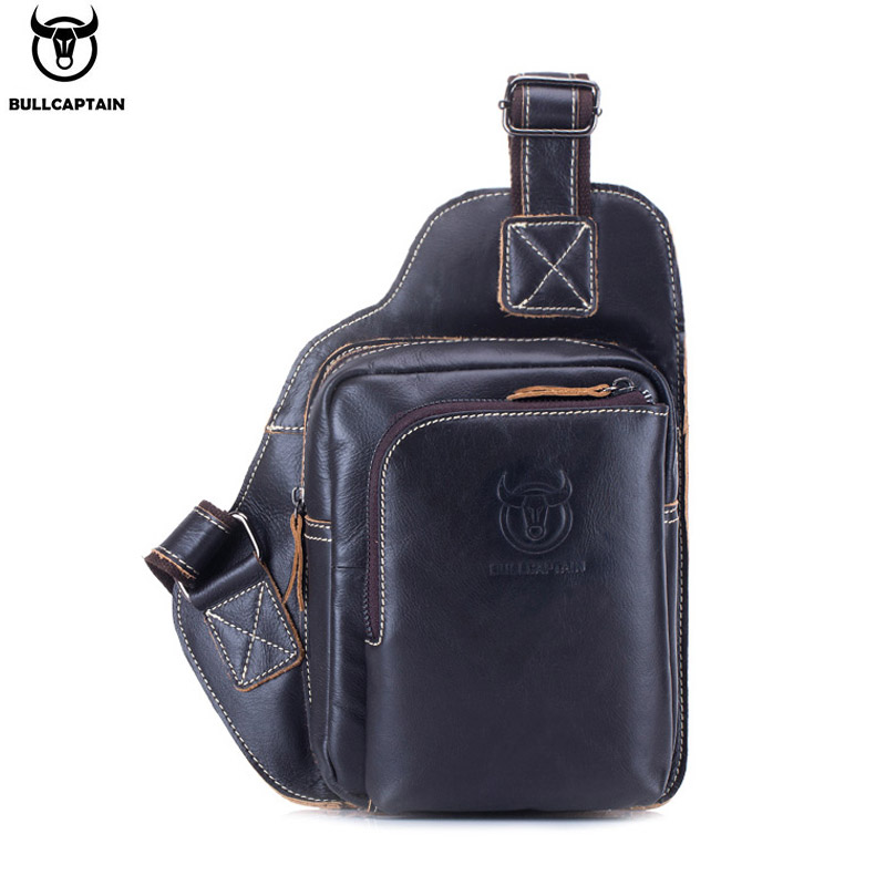 2020BULLCAPTAIN Fashion Men's Shoulder Bag Anti-theft Black Leather Men's Chest Bag Messenger Bag Travel Bag