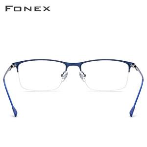 Image 4 - نظارات رجالية من FONEX بإطار مربع وصفة طبية نظارات إطار قصر النظر شبه بدون إطار نظارات بدون مسامير كورية 8836