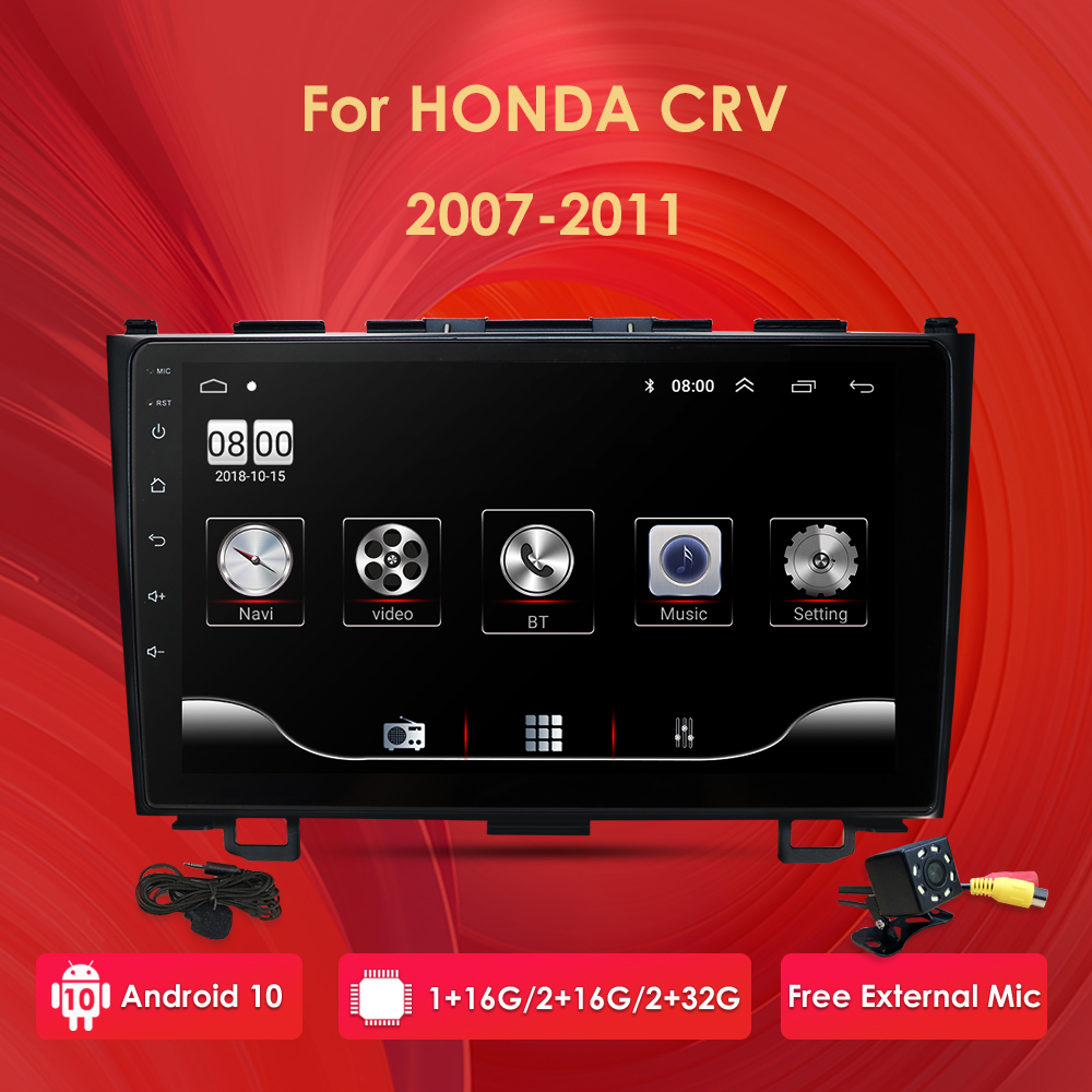 2din Android 10 car radio player for Honda CRV 2007-2011 car stereo GPS navigation WiFi BT 1024*600 multimedia dvr 9inch image
