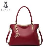 FOXER Women Genuine Leather Handbag Shoulder Bags Fashion Solid Multi Colorful Female Cowhide Tote bag Messenger Crossbody Bags