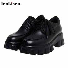 Lenkisen new genuine leather Internet star popular fashion thick bottom round toe lace up waterproof