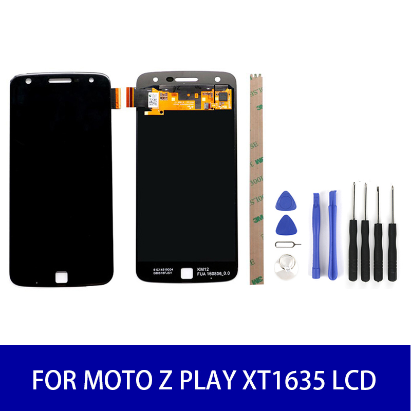 For Motorola <font><b>Moto</b></font> <font><b>Z</b></font> <font><b>Play</b></font> <font><b>XT1635</b></font> Lcd <font><b>Display</b></font> Touch Screen Panel Digitizer Assembly Screen Replacement Parts 1920x1080 Black/White image