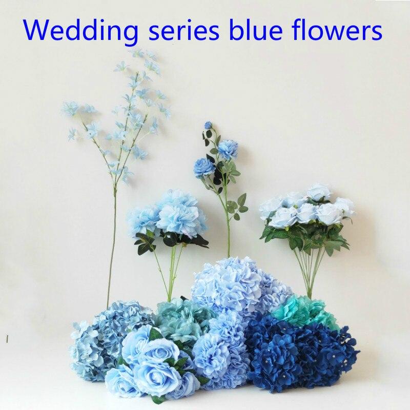 Hot Sale 10pcs Lot 8cm Rose Light Blue Color Artificial Rose Silk Flower Head Diy Wedding Home Decoration Romantic Date Supplies Leather Bag