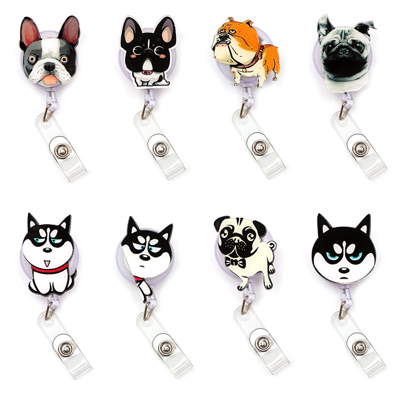 Funny Color Dog Husky Dog Clown Retractable Creative Card Holder Badge Reel Nurse Exhibition Enfermera Girl Name Card Chest Boy