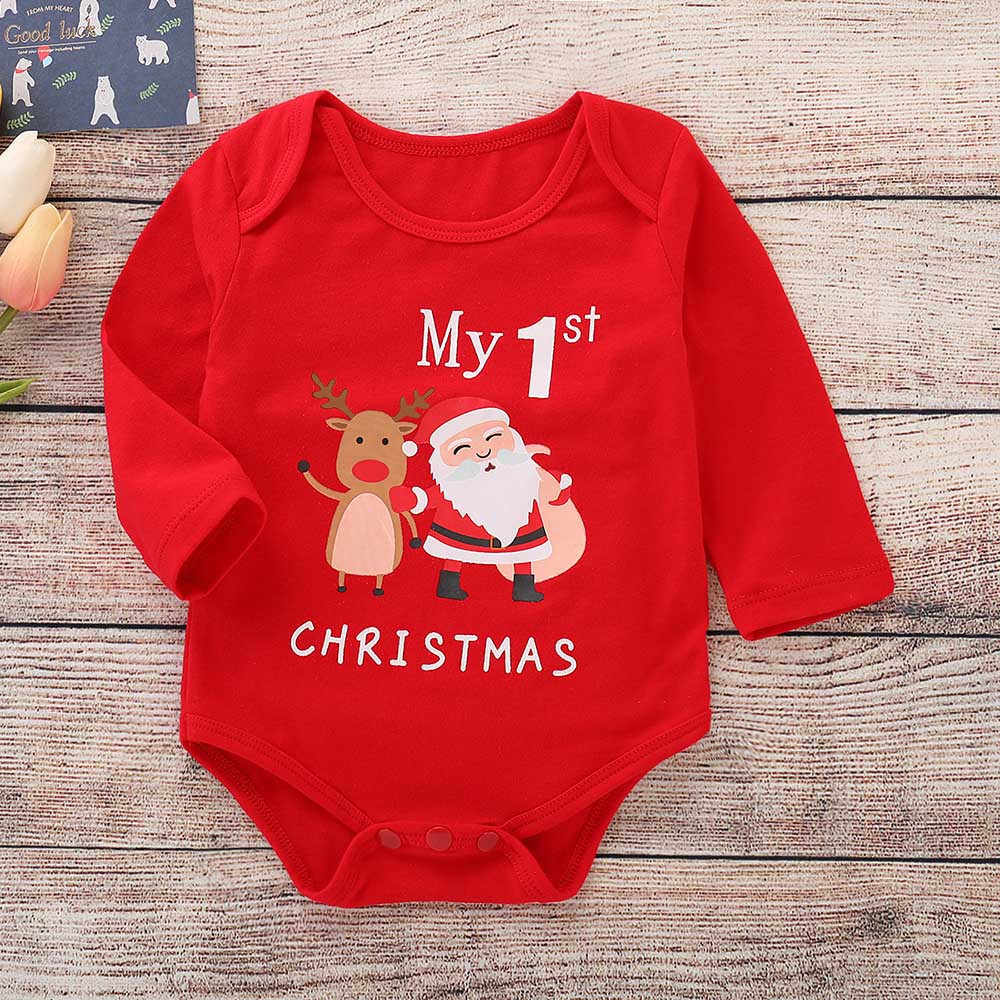 Fashion Baby clothes Infant Baby Girls Boys Long Sleeve Letter Print Christmas Jumpsuit Romper Outfit Vestidos Free shipping H4