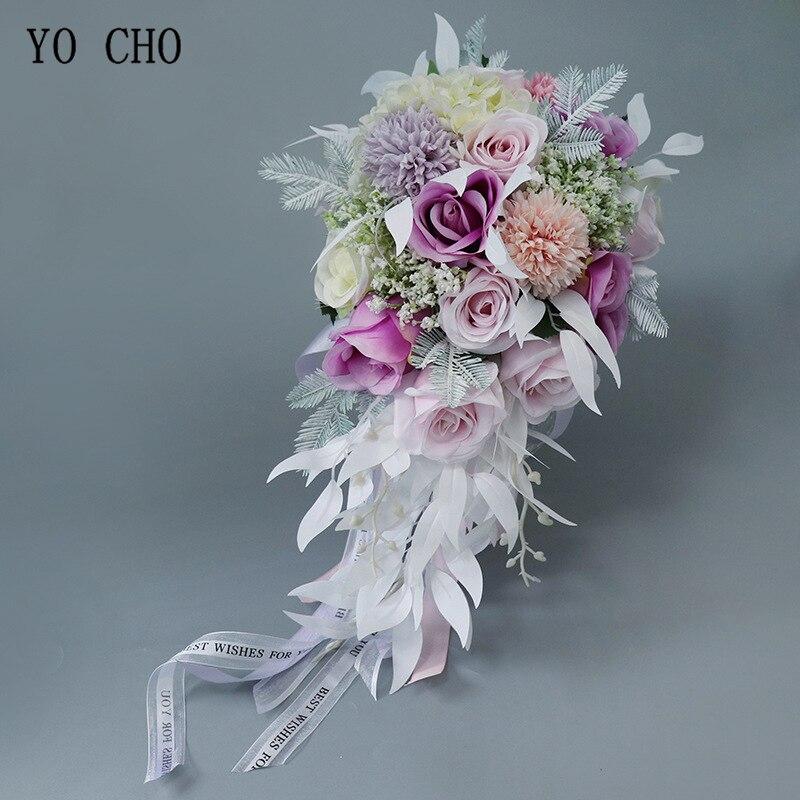 YO CHO Bride Wedding Bouquet Waterfall Holding Flower Artificial Flower Silk Rose Hydrangea Flowers Babysbreath Wedding Bouquet