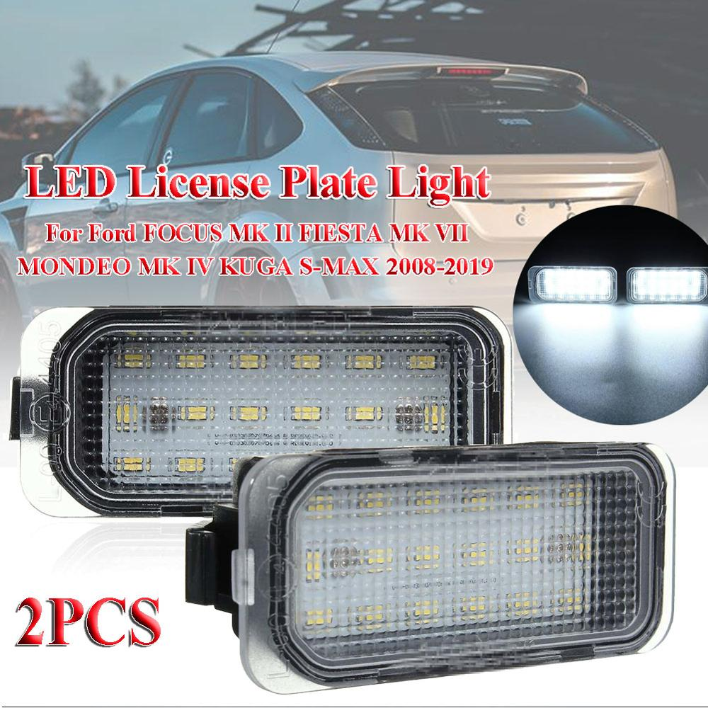 2X LED Number License Plate Light For Ford FOCUS MK II FIESTA MK VII MONDEO MK IV KUGA S-MAX 2008-2019