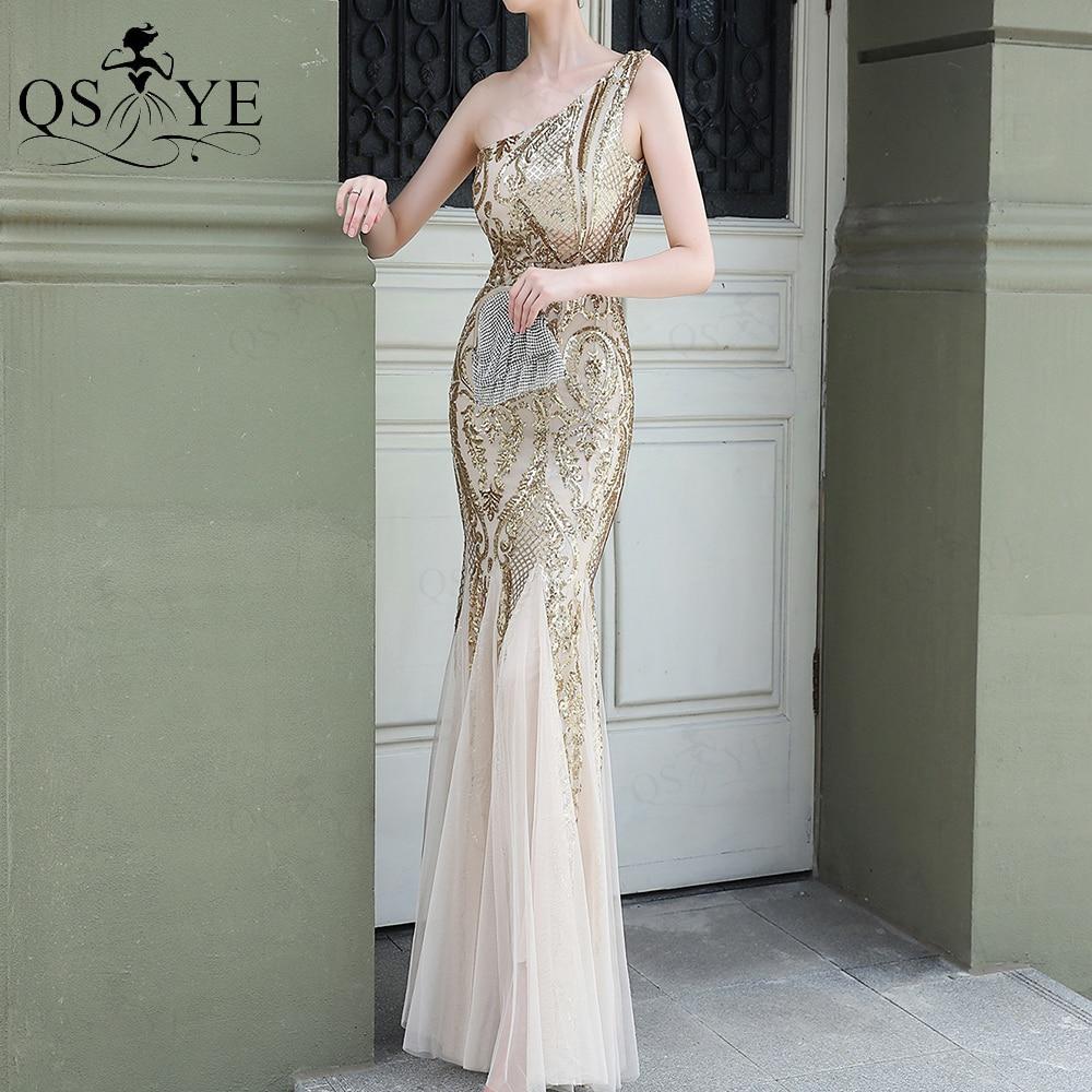 Gold Evening Dresses Mermaid One Shoulder Cheap Evening Gown Glitter Elegant Long...